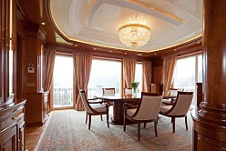 Luxury dining room with a design of classical, noble elegance.